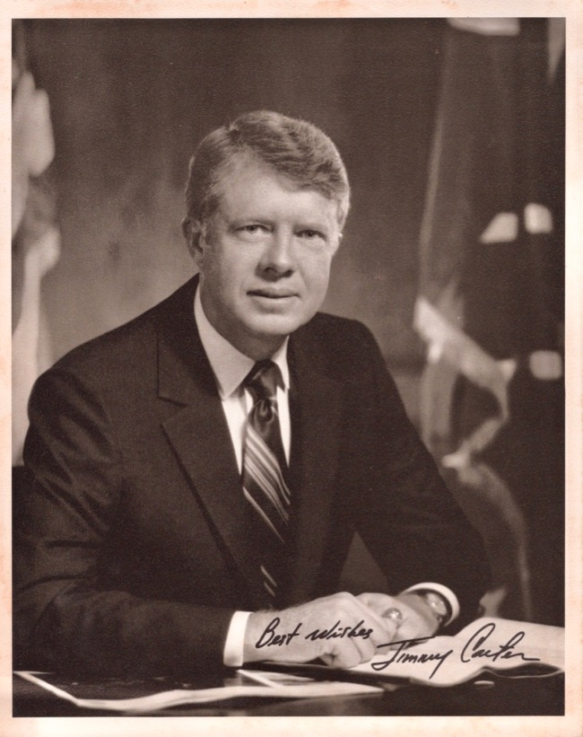 "Signed 8"" x 10"" Black and White Photograph of Jimmy Carter. Jimmy Carter."