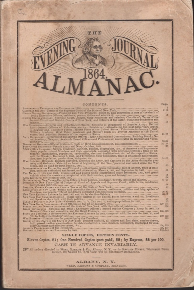The Evening Journal Almanac 1864. Albany Evening Journal.
