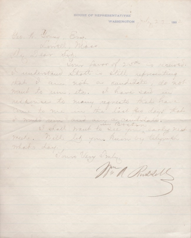 1882 signed, manuscript letter written on the the United States House of Representatives Letterhead regarding running for office. William A. Russell.