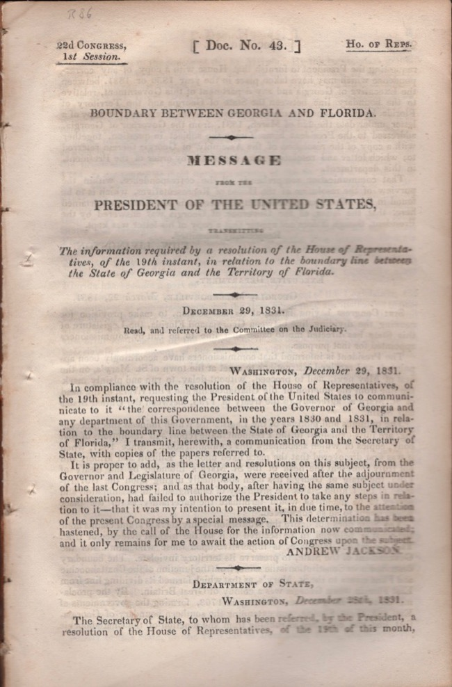 Boundary Between Georgia and Florida. Message from the President of the United States. United States Congress.