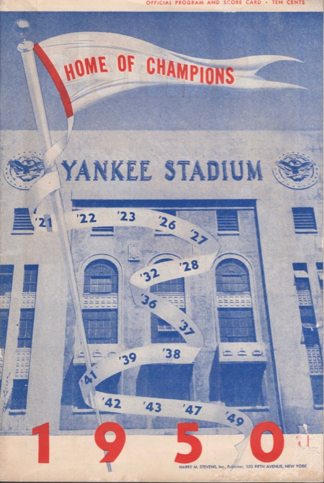 New York Yankees Scorecard August 9th, 1950. New York Yankees versus Boston Red Sox. New York Yankees.