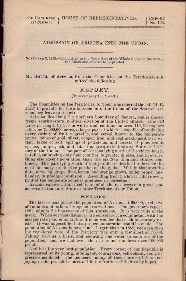 Admission of Arizona into the Union. Mr. Smith, of Arizona, from the Committee on the Territories, submitted the following Report. Arizona.