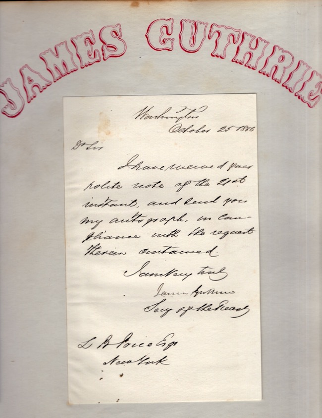 1856 James Guthrie Autograph Letter Signed (ALS) pasted down on a single sheet of paper. James Guthrie.