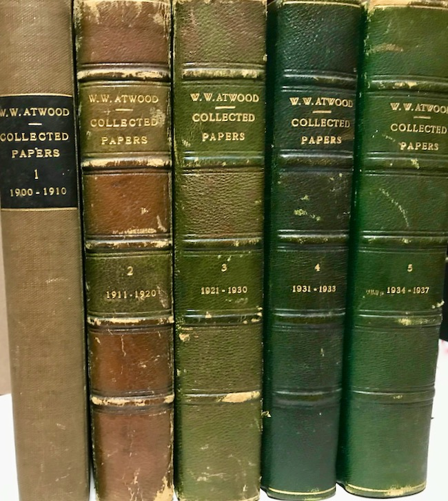 1900-1937 Collected Papers of Wallace Walter Atwood. Five Volumes. Wallace Walter Atwood.