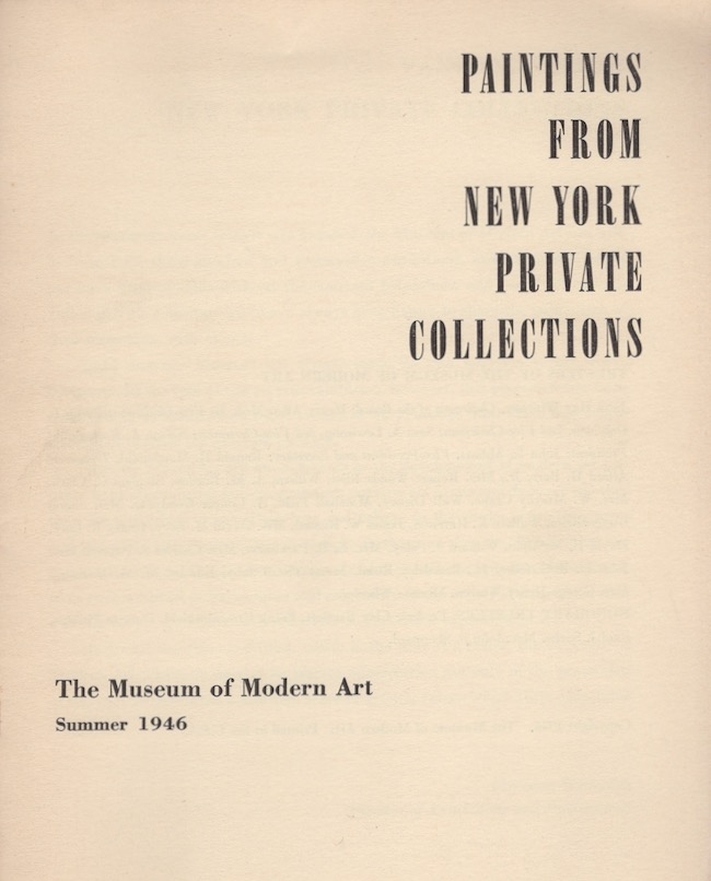 Paintings from New York Private Collections. Monroe Wheeler.