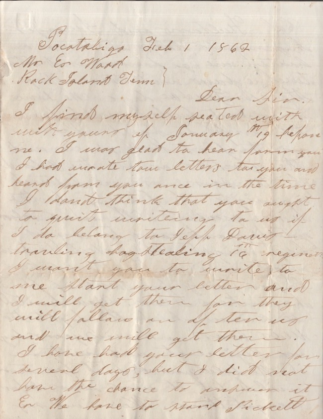 Confederate soldier's February 1, 1862 reply to Mr. E Ward, Rock Island, Tennessee while camped at Pocotaligo, near Yemassee South Carolina. Civil War, Confederacy, N. B. Hamrick, Battle of Pocotaligo, South Carolina.