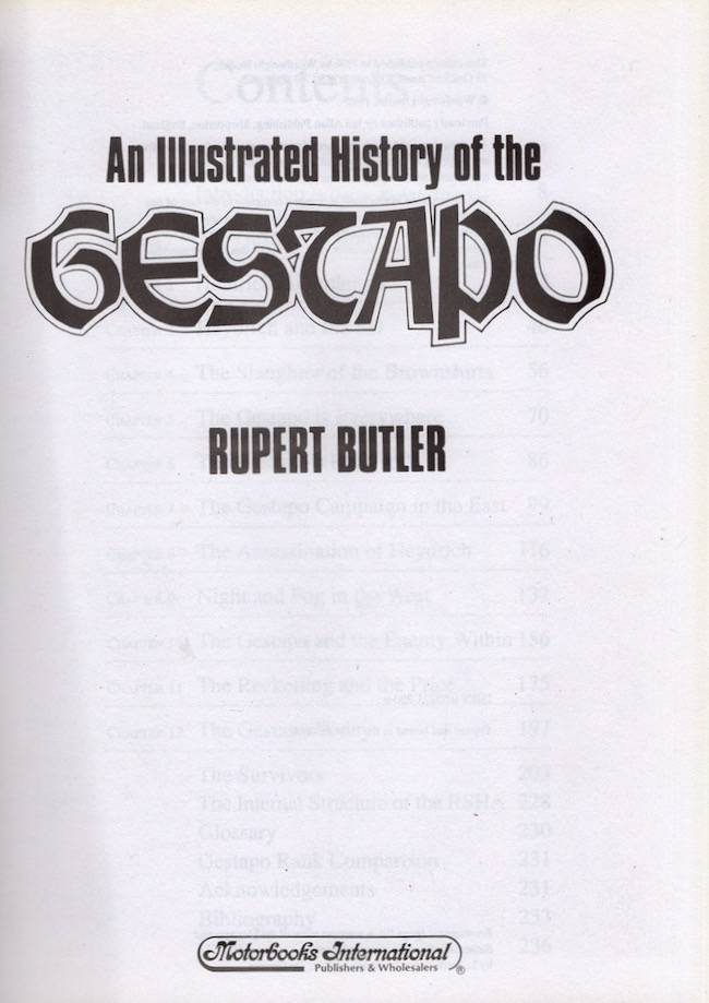 An Illustrated History of the Gestapo. Rupert Butler.