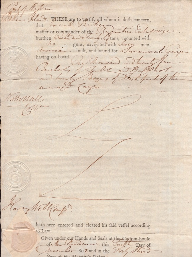 """1802 Cargo Document from the Port of Nassau. Cleared for export on the ship """"Brigantine Enterprize"""" Port of Nassau, Brigantine Enterprize."""