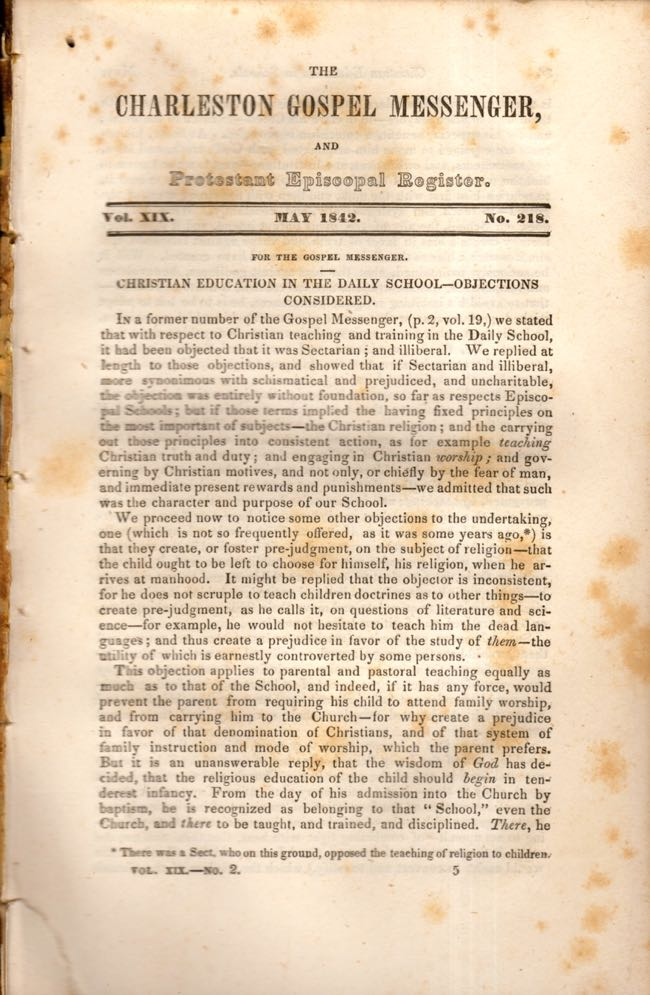 The Charleston Gospel Messenger, and Protestant Episcopal Register May, 1842. Publisher A. E. Miller.