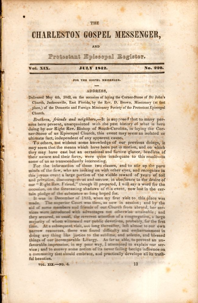 The Charleston Gospel Messenger, and Protestant Episcopal Register July, 1842. Publisher A. E. Miller.