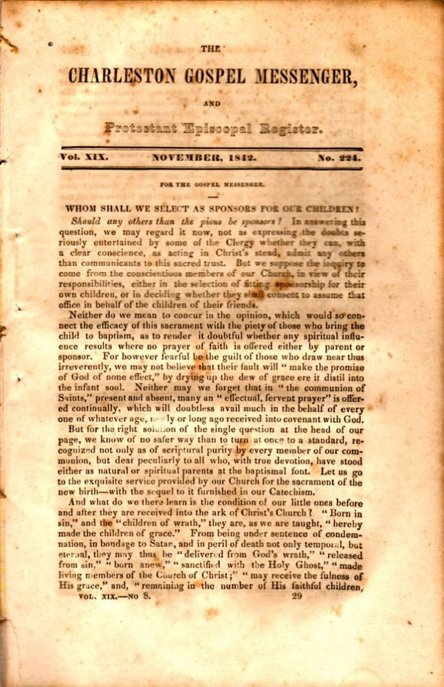 The Charleston Gospel Messenger, and Protestant Episcopal Register November, 1842. Publisher A. E. Miller.
