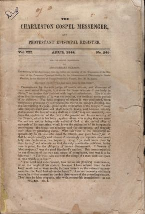 The Charleston Gospel Messenger and Protestant Episcopal Register. Publisher A. E. Miller