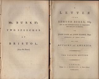 Five Speeches and Letters by Edmund Burke. Published separately. Edmond Burke.