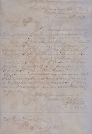 1863 Confederate Document: Headquarters Dept. No 2, Tullahoma, Tenn. June 2d 1863. General Orders No 18 By Command of General Bragg. Signed H W Walter A.A. Genl. Confederate Army, Assistant Adjutant General H. W. Walter.