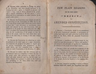 A Few Plain Reasons Why The People Should Reject the Amended Constitution. Massachusetts