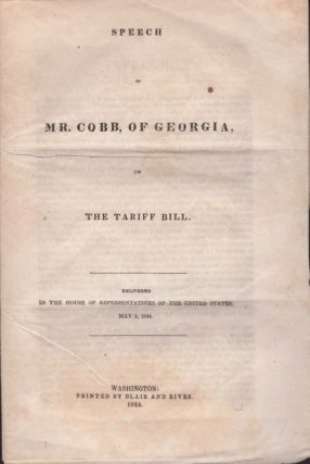 Speech of Mr. Cobb, of Georgia, on the Tariff Bill. Delivered in the House of Representatives of...