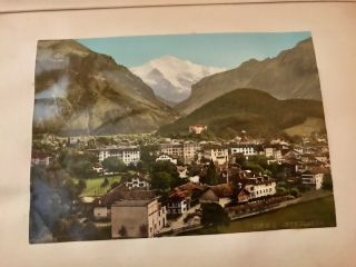 Vintage Swiss and English Travel Album with original titled photographs, color photographs, folding panorama photographs, 14 pages of plant specimens, quality post cards including a few embossed color cards, a folding map and misc. ephemera