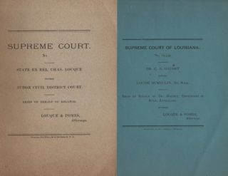 Lot 4 late 1800's Supreme Court briefs by Loque & Pomes, Attorneys. Supreme Court of Louisiana,...