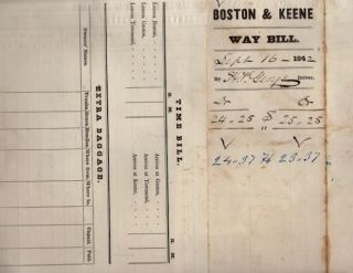 1842 United States Mail Coach. Way Bill From Keene to Groton and Boston