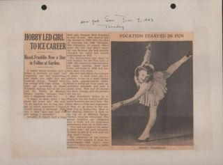 Small Archive of 1940's Ice Follies and Movie Stars Photographs and Clippings.