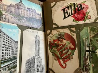 Post Card Album with colorful Holiday and Greeting Cards, Birthday Cards, Humor, Romance, American buildings and some European Cards.