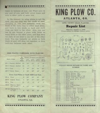1945 King Plow Co. Atlanta, Ga. King Crown Grain Planter Repair List Effective August 1, 1945....