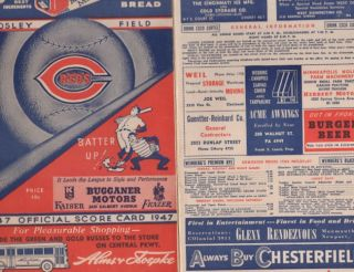 Cincinnati Reds vs. Boston Braves 1947 Official Program and Scorecard. Cincinnati Reds