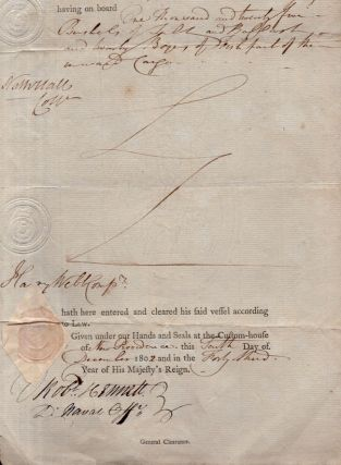 """1802 Cargo Document from the Port of Nassau. Cleared for export on the ship """"Brigantine Enterprize"""""""