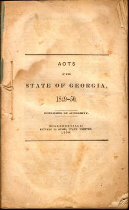 Acts of the State of Georgia, 1849-50. Georgia