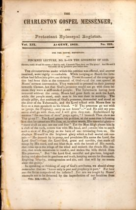 The Charleston Gospel Messenger, and Protestant Episcopal Register August, 1842. Publisher A. E....