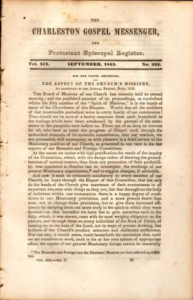 The Charleston Gospel Messenger, and Protestant Episcopal Register September, 1842. Publisher A....