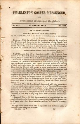 The Charleston Gospel Messenger, and Protestant Episcopal Register October, 1842. Publisher A. E....